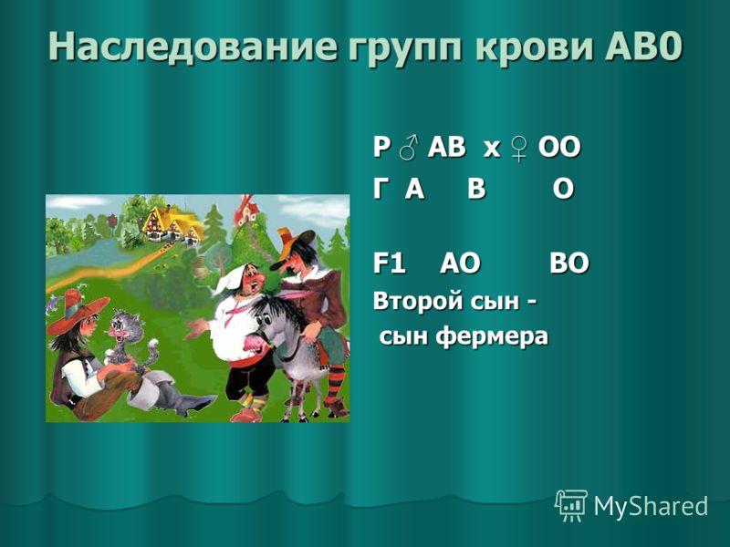 Наследование групп крови AB0 Р АВ x ОО Г А В О F1 АО ВО Второй сын - сын фермера сын фермера