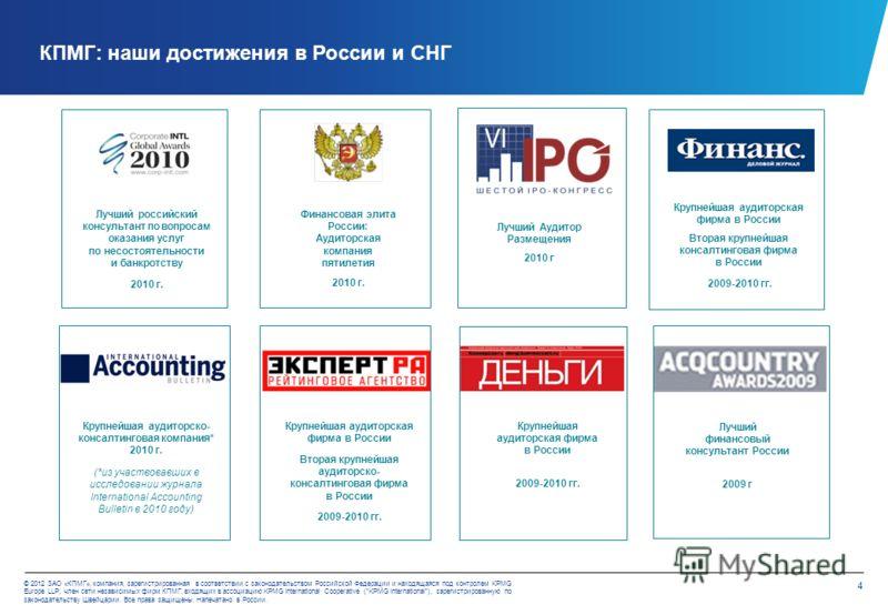 3 © 2012 ЗАО «КПМГ», компания, зарегистрированная в соответствии с законодательством Российской Федерации и находящаяся под контролем KPMG Europe LLP; член сети независимых фирм КПМГ, входящих в ассоциацию KPMG International Cooperative (KPMG Interna