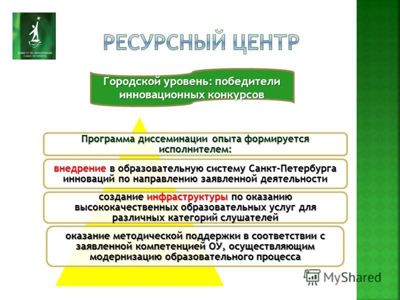 Городской уровень: победители инновационных конкурсов Программа диссеминации опыта формируется исполнителем: внедрение в образовательную систему Санкт-Петербурга инноваций по направлению заявленной деятельности создание инфраструктуры по оказанию выс