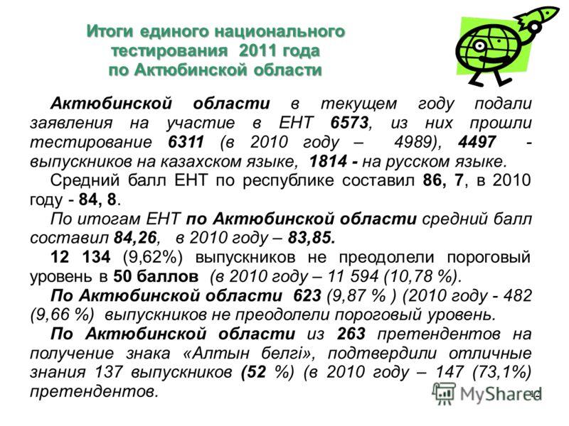 Итоги единого национального тестирования 2011 года по Актюбинской области Итоги единого национального тестирования 2011 года по Актюбинской области 12 Актюбинской области в текущем году подали заявления на участие в ЕНТ 6573, из них прошли тестирован