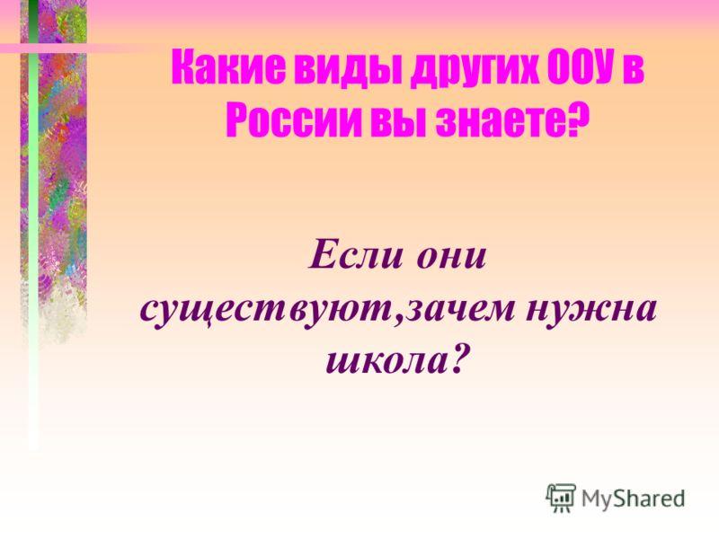 Какие виды других ООУ в России вы знаете? Если они существуют,зачем нужна школа?