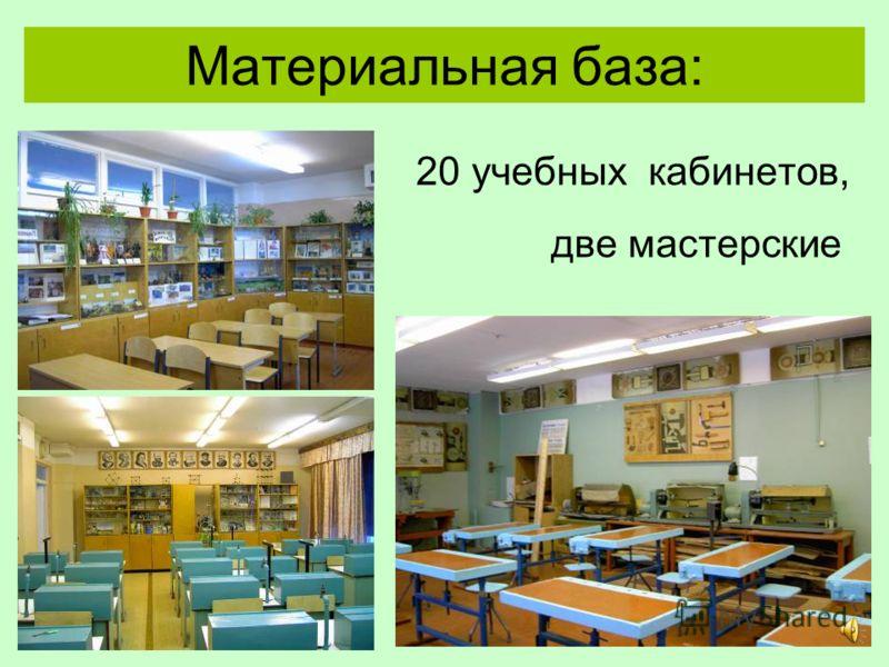 Материальная база: 20 учебных кабинетов, две мастерские