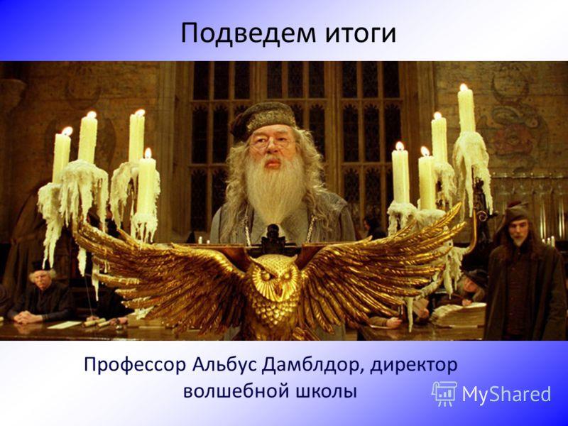Подведем итоги Профессор Альбус Дамблдор, директор волшебной школы