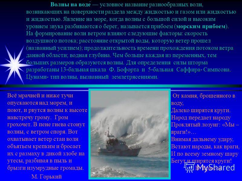 Волны на воде́ условное название разнообразных волн, возникающих на поверхности раздела между жидкостью и газом или жидкостью и жидкостью. Явление на море, когда волны с большой силой и высоким уровнем звука разбиваются о берег, называется прибоем (м