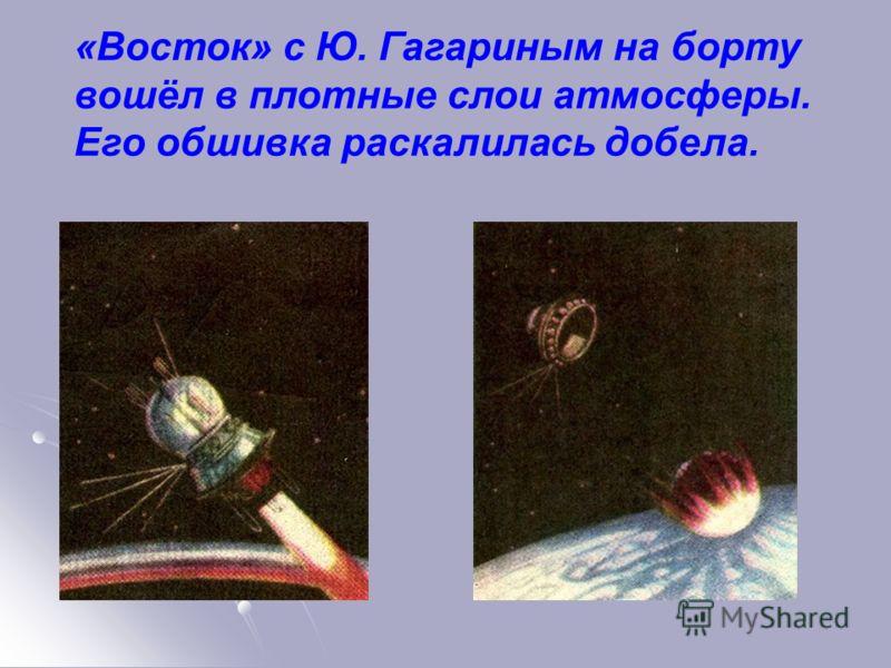 «Восток» с Ю. Гагариным на борту вошёл в плотные слои атмосферы. Его обшивка раскалилась добела.