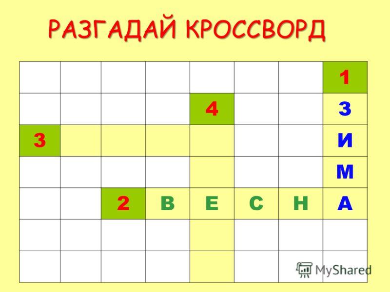 РАЗГАДАЙ КРОССВОРД 1 4З 3И М 2ВЕСНА