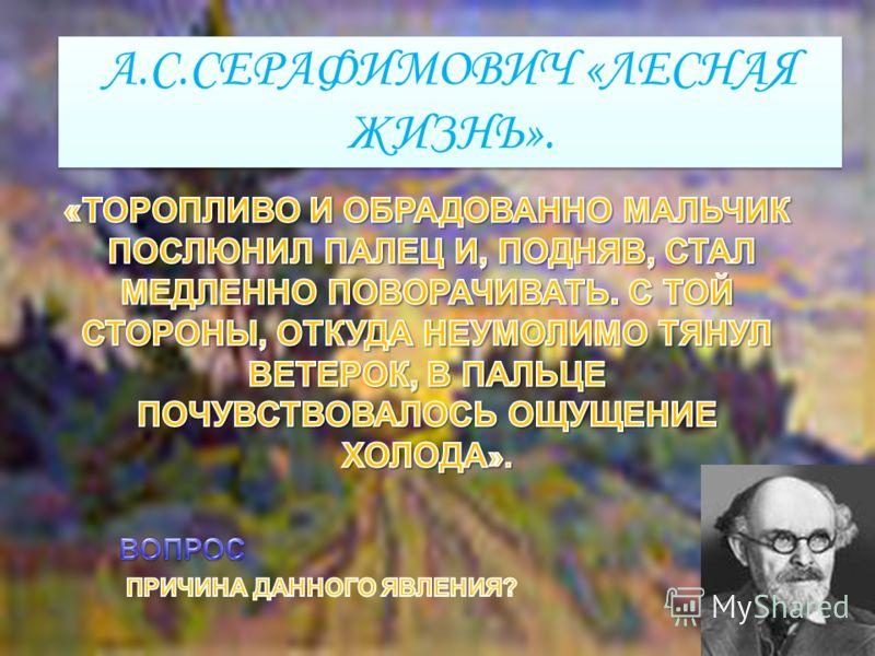 А.С.СЕРАФИМОВИЧ «ЛЕСНАЯ ЖИЗНЬ».