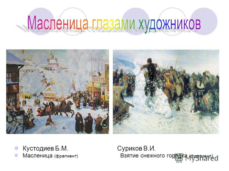 Кустодиев Б.М. Суриков В.И. Масленица (фрагмент) Взятие снежного городка (фрагмент )