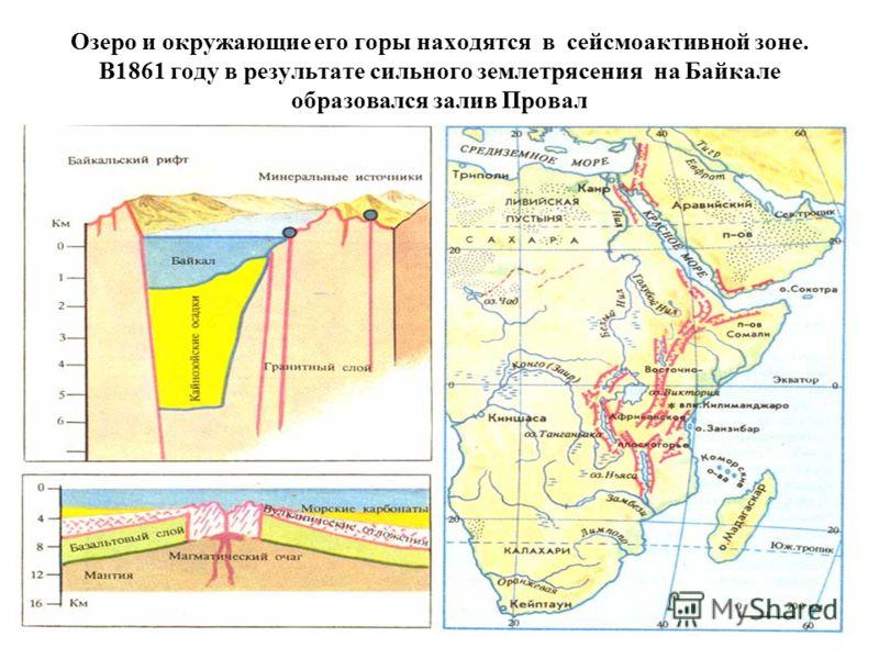 Озеро и окружающие его горы находятся в сейсмоактивной зоне. В1861 году в результате сильного землетрясения на Байкале образовался залив Провал
