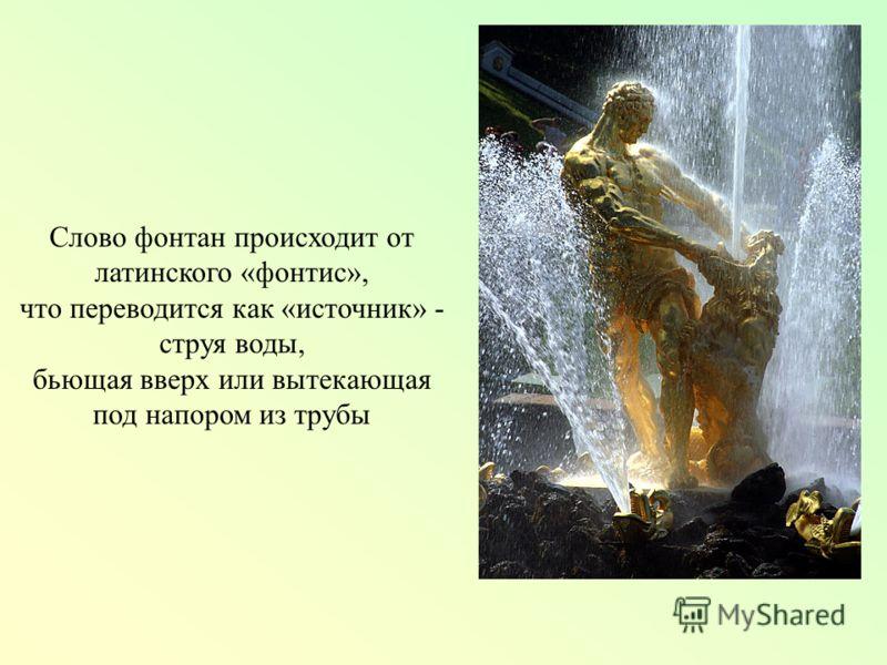 Слово фонтан происходит от латинского «фонтис», что переводится как «источник» - струя воды, бьющая вверх или вытекающая под напором из трубы