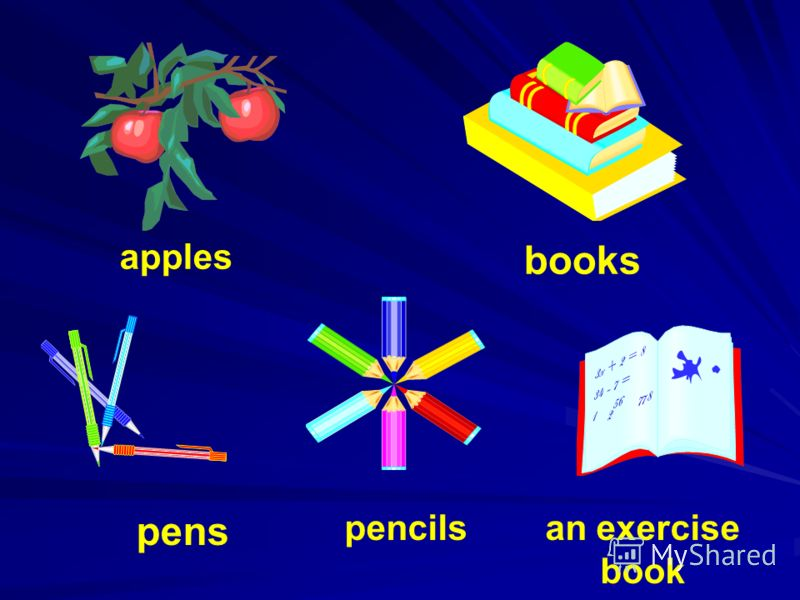 apples books pens pencilsan exercise book