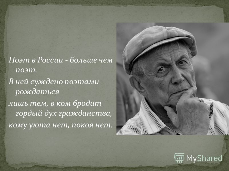 Поэт в России - больше чем поэт. В ней суждено поэтами рождаться лишь тем, в ком бродит гордый дух гражданства, кому уюта нет, покоя нет.