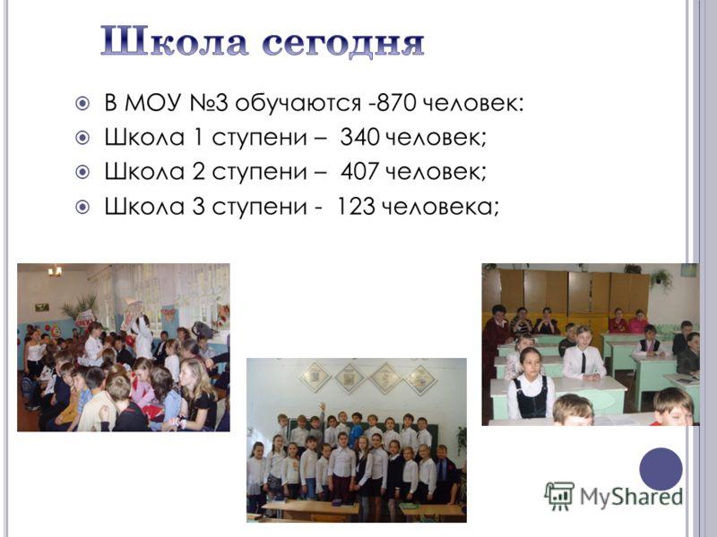 В МОУ 3 обучаются -870 человек: Школа 1 ступени – 340 человек; Школа 2 ступени – 407 человек; Школа 3 ступени - 123 человека;