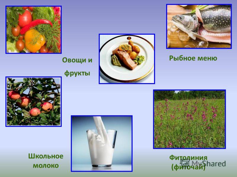 Школьное молоко Фитолиния (фиточай) Овощи и фрукты Рыбное меню