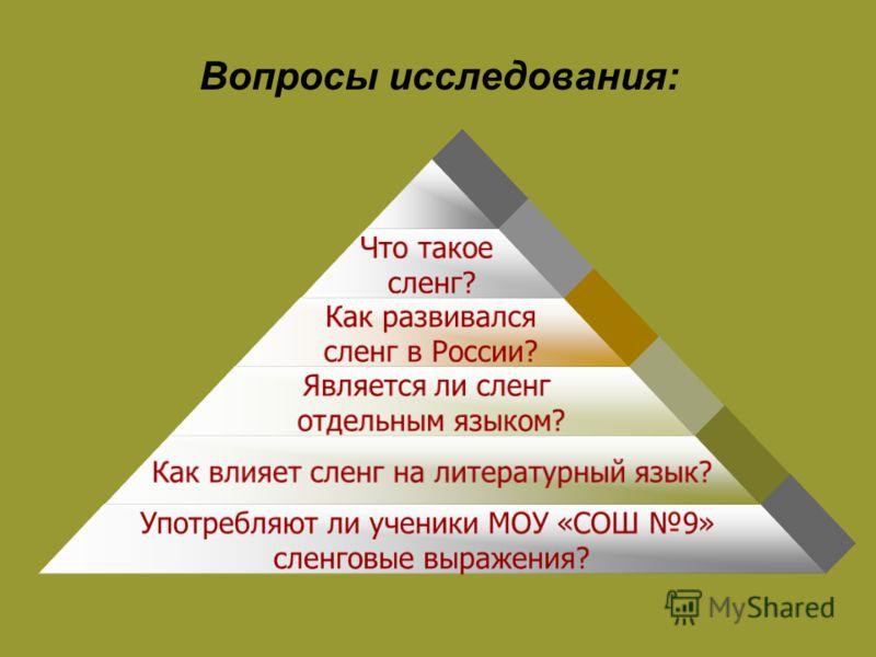 Вопросы исследования: Что такое сленг? Как развивался сленг в России? Является ли сленг отдельным языком? Как влияет сленг на литературный язык? Употребляют ли ученики МОУ «СОШ 9» сленговые выражения?