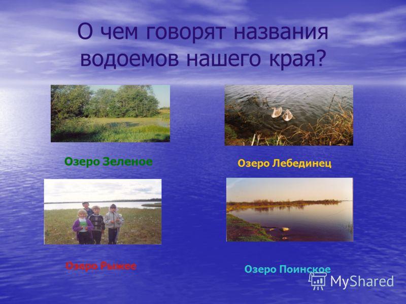 О чем говорят названия водоемов нашего края? Озеро Зеленое Озеро Лебединец Озеро Рыжее Озеро Поинское