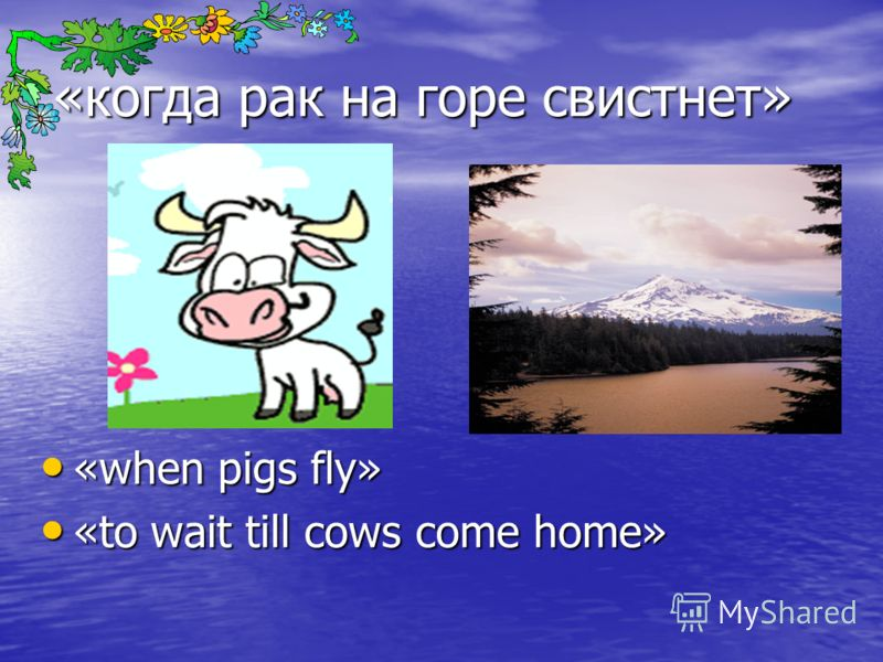 «когда рак на горе свистнет» «when pigs fly» «when pigs fly» «to wait till cows come home» «to wait till cows come home»