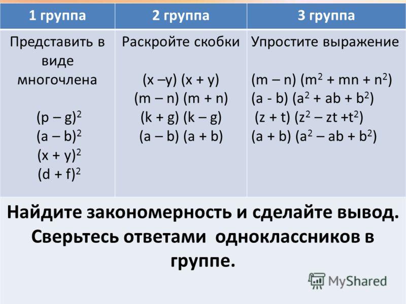 5 1 группа2 группа3 группа Представить в виде многочлена (p – g) 2 (a – b) 2 (x + y) 2 (d + f) 2 Раскройте скобки (x –y) (x + y) (m – n) (m + n) (k + g) (k – g) (a – b) (a + b) Упростите выражение (m – n) (m 2 + mn + n 2 ) (a - b) (a 2 + ab + b 2 ) (