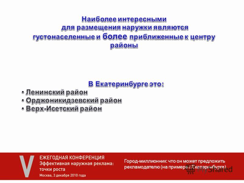 Город-миллионник: что он может предложить рекламодателю (на примере г.Екатеринбурга)