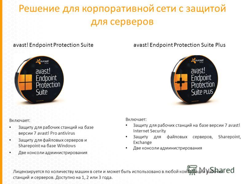 Решение для корпоративной сети с защитой для серверов Включает: Защиту для рабочих станций на базе версии 7 avast! Pro antivirus Защиту для файловых серверов и Sharepoint на базе Windows Две консоли администрирования Лицензируется по количеству машин