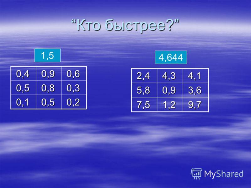Кто быстрее?Кто быстрее? 0,4 0,4 0,9 0,9 0,6 0,6 0,5 0,5 0,8 0,8 0,3 0,3 0,1 0,1 0,5 0,5 0,2 0,2 1,5 4,644 2,4 2,4 4,3 4,3 4,1 4,1 5,8 5,8 0,9 0,9 3,6 3,6 7,5 7,5 1,2 1,2 9,7 9,7