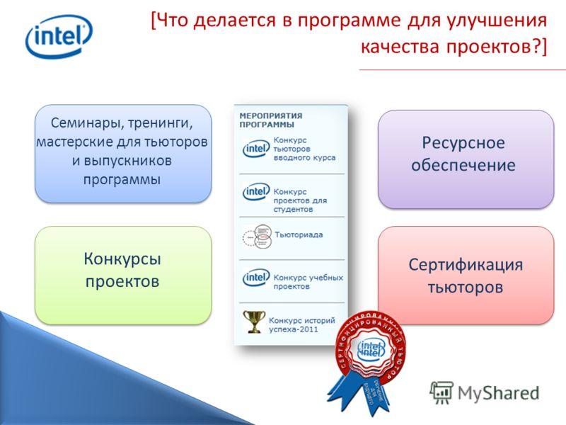 [Что делается в программе для улучшения качества проектов?] Семинары, тренинги, мастерские для тьюторов и выпускников программы Ресурсное обеспечение Сертификация тьюторов Конкурсы проектов