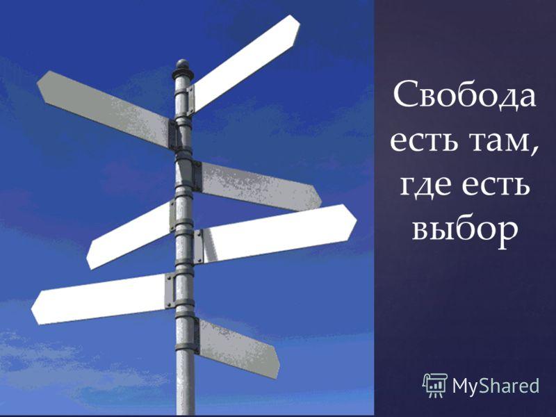 Свобода есть там, где есть выбор