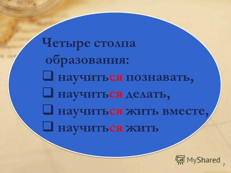 Четыре столпа образования: научиться познавать, научиться делать, научиться жить вместе, научиться жить Четыре столпа образования: научиться познавать, научиться делать, научиться жить вместе, научиться жить 7