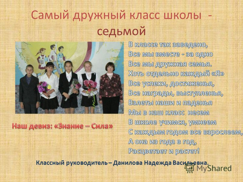 Самый дружный класс школы - седьмой Классный руководитель – Данилова Надежда Васильевна.
