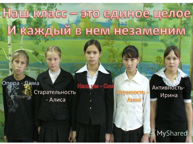 Старательность - Алиса Опора - Дима Активность- Ирина