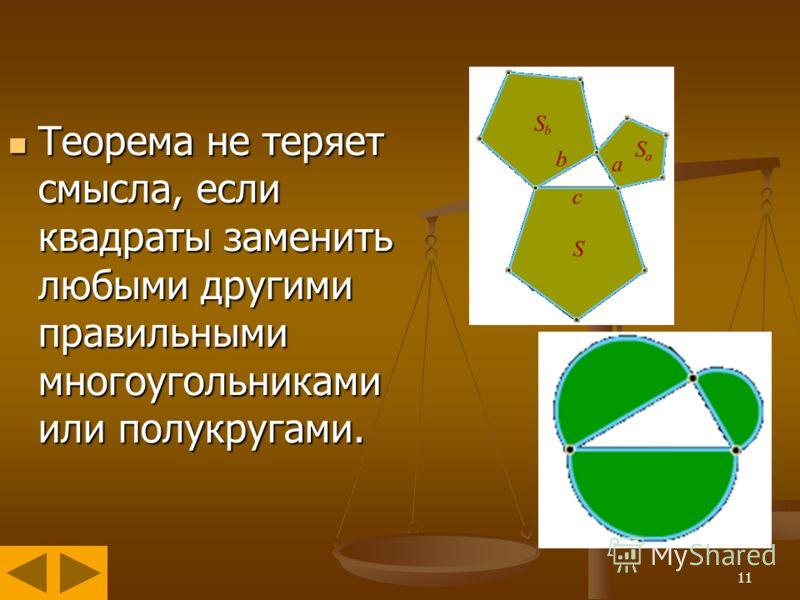 11 Теорема не теряет смысла, если квадраты заменить любыми другими правильными многоугольниками или полукругами. Теорема не теряет смысла, если квадраты заменить любыми другими правильными многоугольниками или полукругами.