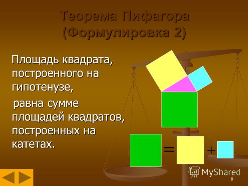 9 Теорема Пифагора (Формулировка 2) Площадь квадрата, построенного на гипотенузе, Площадь квадрата, построенного на гипотенузе, равна сумме площадей квадратов, построенных на катетах. равна сумме площадей квадратов, построенных на катетах.