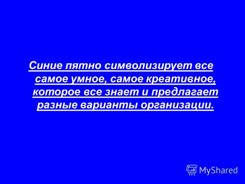 Синие пятно символизирует все самое умное, самое креативное, которое все знает и предлагает разные варианты организации.