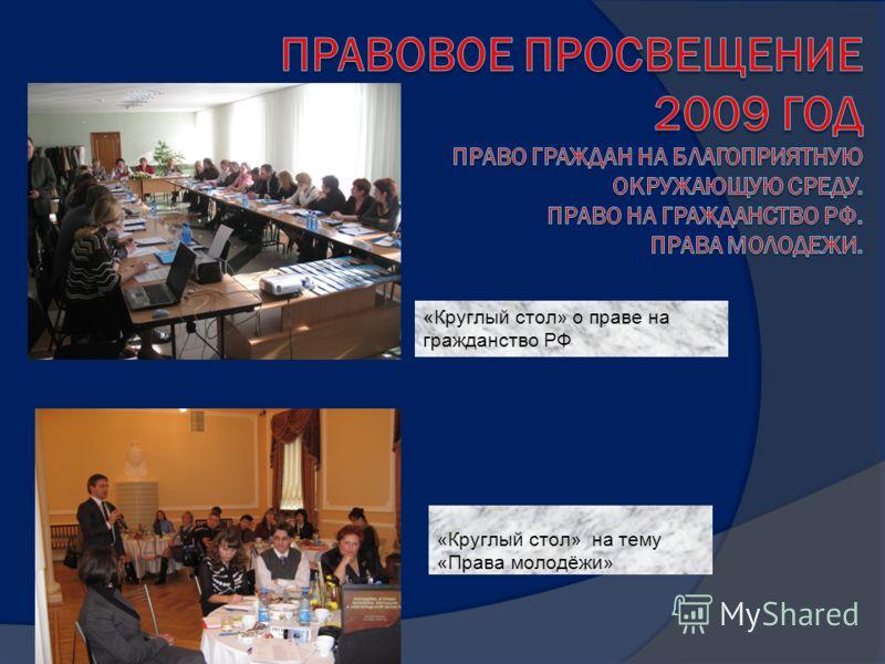 «Круглый стол» о праве на гражданство РФ «Круглый стол» на тему «Права молодёжи»