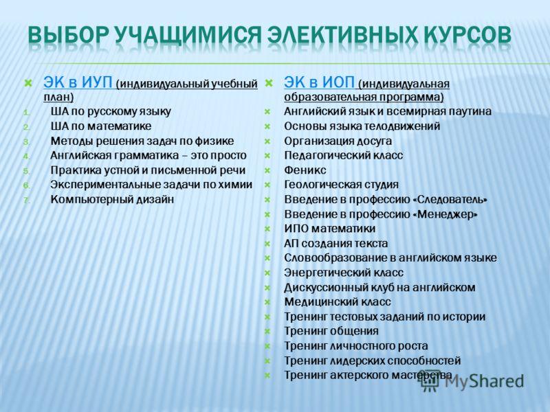 ЭК в ИУП (индивидуальный учебный план) 1. ША по русскому языку 2. ША по математике 3. Методы решения задач по физике 4. Английская грамматика – это просто 5. Практика устной и письменной речи 6. Экспериментальные задачи по химии 7. Компьютерный дизай