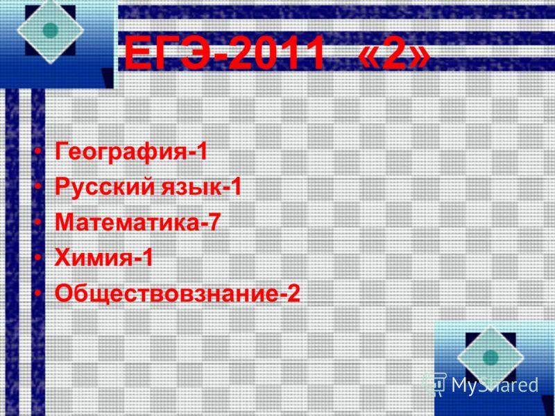 ЕГЭ-2011 «2» География-1 Русский язык-1 Математика-7 Химия-1 Обществовзнание-2