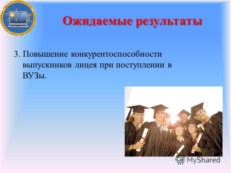 3. Повышение конкурентоспособности выпускников лицея при поступлении в ВУЗы. Ожидаемые результаты