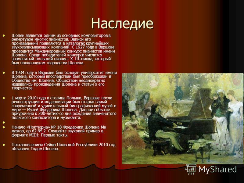 Наследие Шопен является одним из основных композиторов в репертуаре многих пианистов. Записи его произведений появляются в каталогах крупнейших звукозаписывающих компаний. С 1927 года в Варшаве проводится Международный конкурс пианистов имени Шопена.