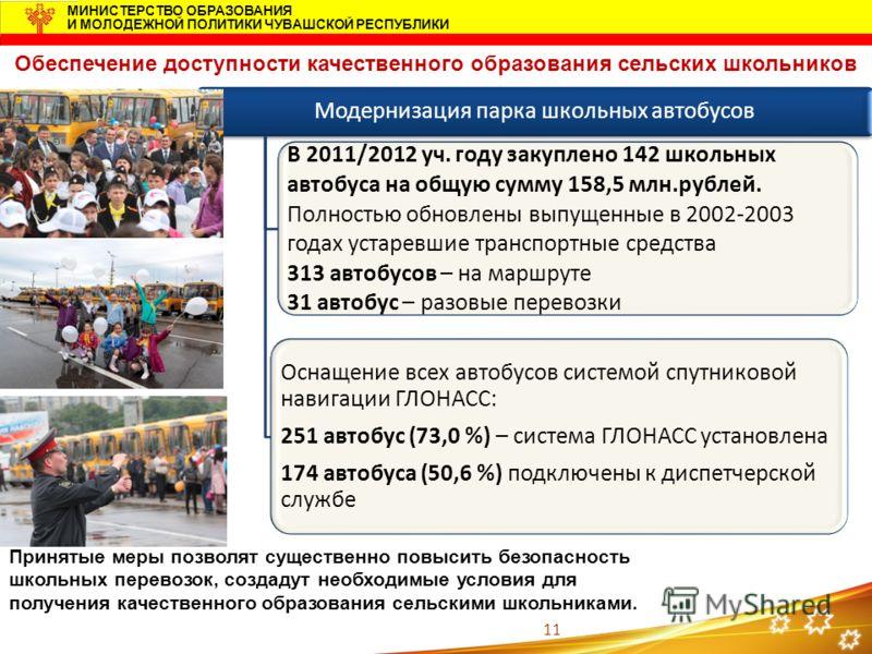11 МИНИСТЕРСТВО ОБРАЗОВАНИЯ И МОЛОДЕЖНОЙ ПОЛИТИКИ ЧУВАШСКОЙ РЕСПУБЛИКИ Модернизация парка школьных автобусов В 2011/2012 уч. году закуплено 142 школьных автобуса на общую сумму 158,5 млн.рублей. Полностью обновлены выпущенные в 2002-2003 годах устаре