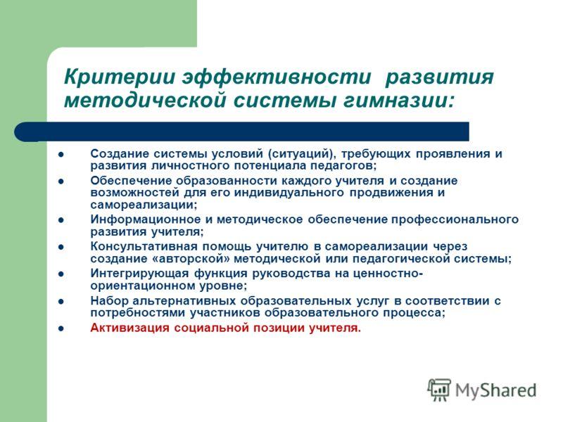 Критерии эффективности развития методической системы гимназии: Создание системы условий (ситуаций), требующих проявления и развития личностного потенциала педагогов; Обеспечение образованности каждого учителя и создание возможностей для его индивидуа