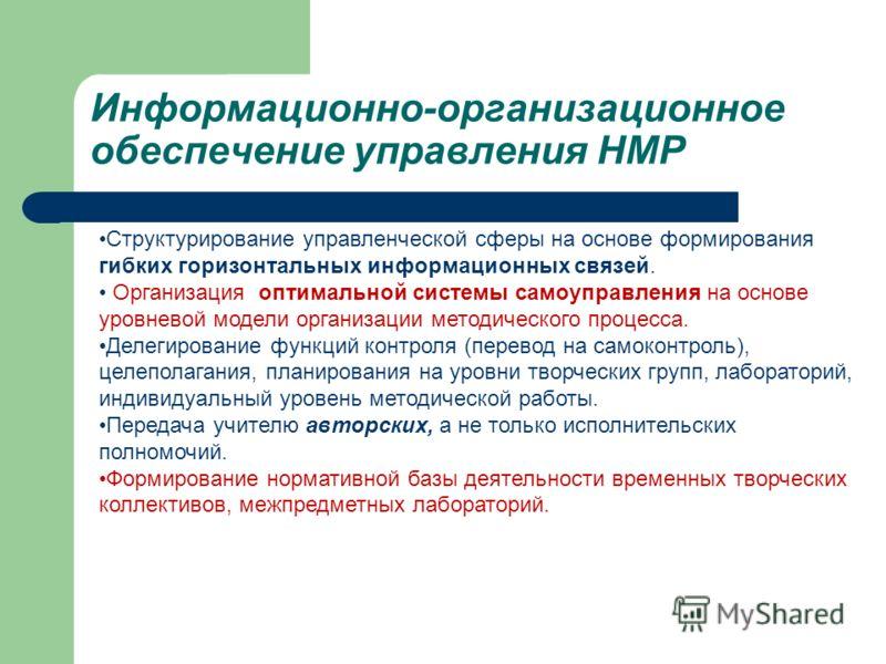 Информационно-организационное обеспечение управления НМР Структурирование управленческой сферы на основе формирования гибких горизонтальных информационных связей. Организация оптимальной системы самоуправления на основе уровневой модели организации м