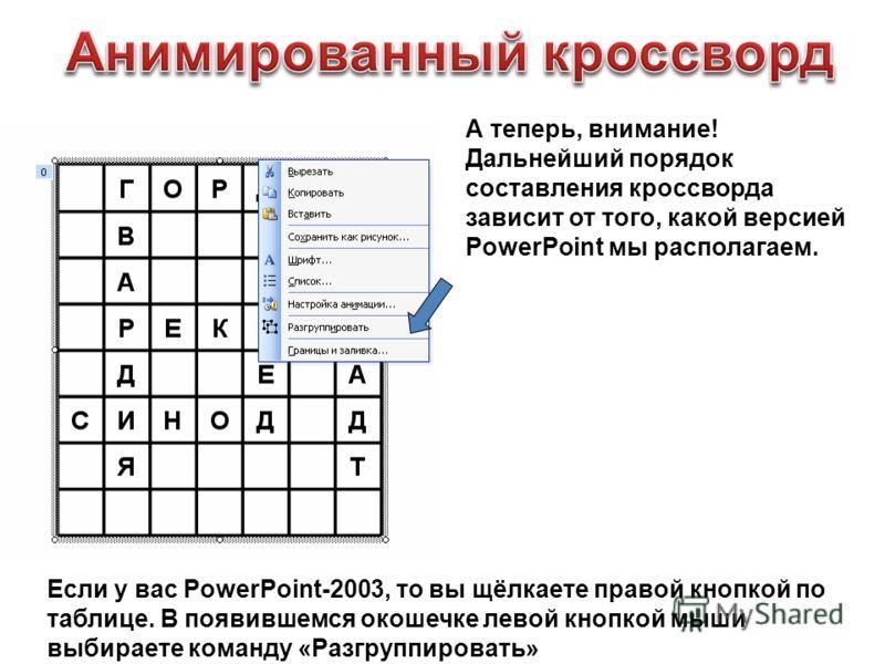 А теперь, внимание! Дальнейший порядок составления кроссворда зависит от того, какой версией PowerPoint мы располагаем. Если у вас PowerPoint-2003, то вы щёлкаете правой кнопкой по таблице. В появившемся окошечке левой кнопкой мыши выбираете команду