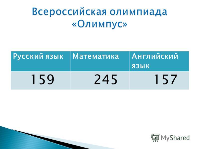 Русский языкМатематикаАнглийский язык 159 245 157