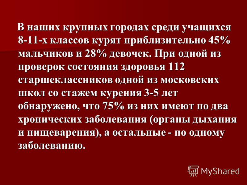 В наших крупных городах среди учащихся 8-11-х классов курят приблизительно 45% мальчиков и 28% девочек. При одной из проверок состояния здоровья 112 старшеклассников одной из московских школ со стажем курения 3-5 лет обнаружено, что 75% из них имеют