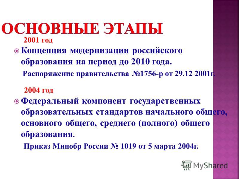 2001 год Концепция модернизации российского образования на период до 2010 года. Распоряжение правительства 1756-р от 29.12 2001г. 2004 год Федеральный компонент государственных образовательных стандартов начального общего, основного общего, среднего