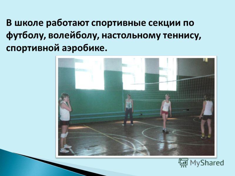 В школе работают спортивные секции по футболу, волейболу, настольному теннису, спортивной аэробике.