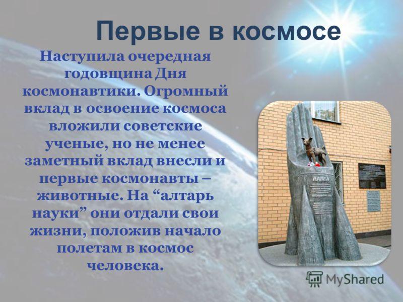 Наступила очередная годовщина Дня космонавтики. Огромный вклад в освоение космоса вложили советские ученые, но не менее заметный вклад внесли и первые космонавты – животные. На алтарь науки они отдали свои жизни, положив начало полетам в космос челов