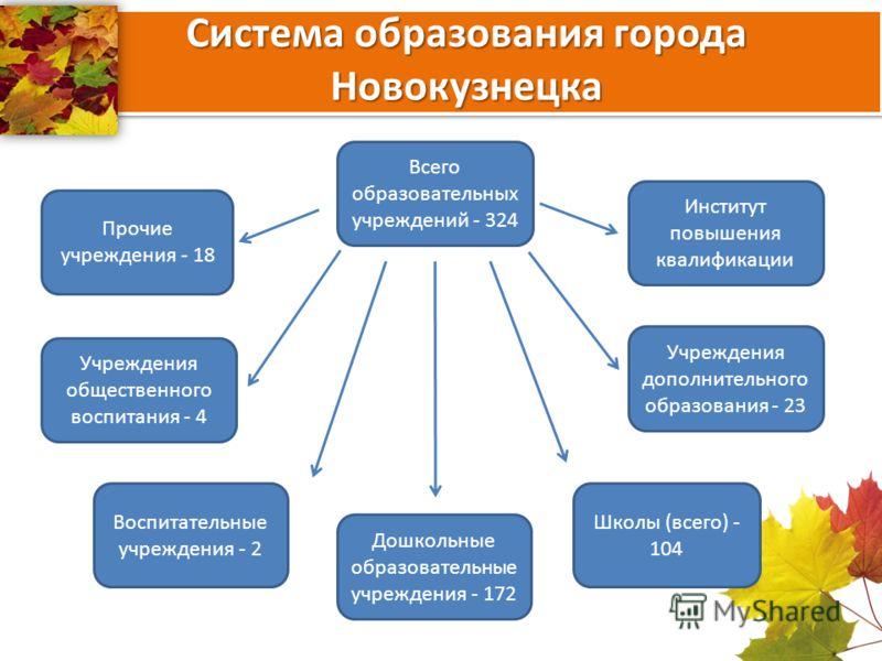 Система образования города Новокузнецка Всего образовательных учреждений - 324 Дошкольные образовательные учреждения - 172 Воспитательные учреждения - 2 Прочие учреждения - 18 Школы (всего) - 104 Учреждения дополнительного образования - 23 Институт п