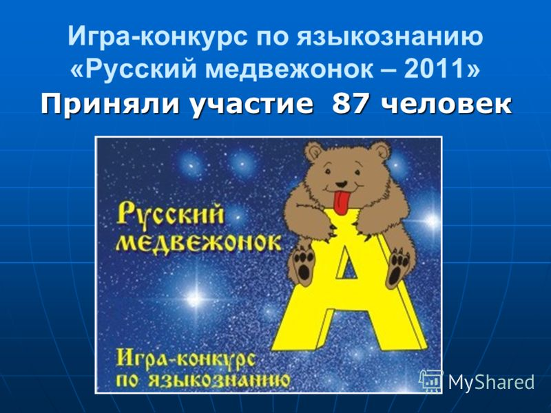 Игра-конкурс по языкознанию «Русский медвежонок – 2011» Приняли участие 87 человек