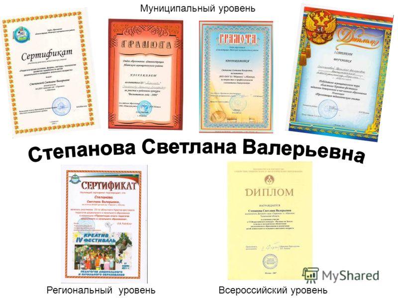 Муниципальный уровень Всероссийский уровеньРегиональный уровень